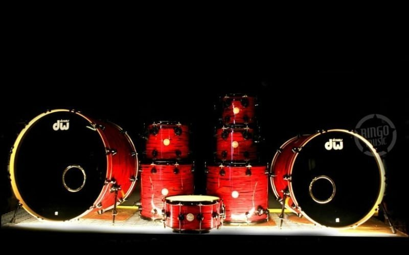 dw drum workshop collectors maple lava oyster 28 drums batteria