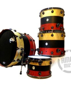 "DrumSound DS Rebel Birch/Mahogany 24"" Gold/Black/Red 4pz Drums Drumset Batteria"